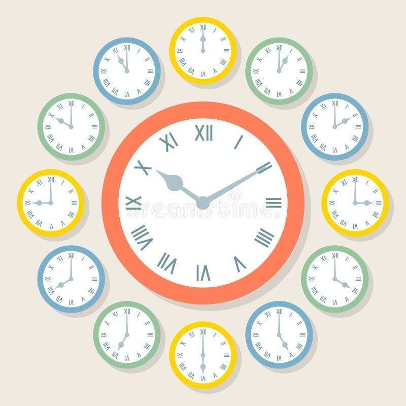 Ретро часы римского цифра вектора показывая все 12 часа иллюстрация штока