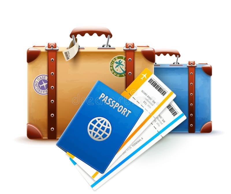 Ретро чемоданы, пасспорт и авиабилеты иллюстрация вектора