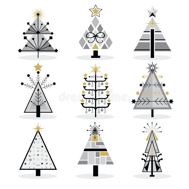 Ретро черные, серые и золотые ультрамодные изолированные установленные значки рождественских елок искусства шипучки иллюстрация вектора