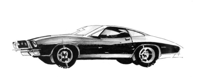 Ретро чертеж спортивной машины иллюстрация вектора