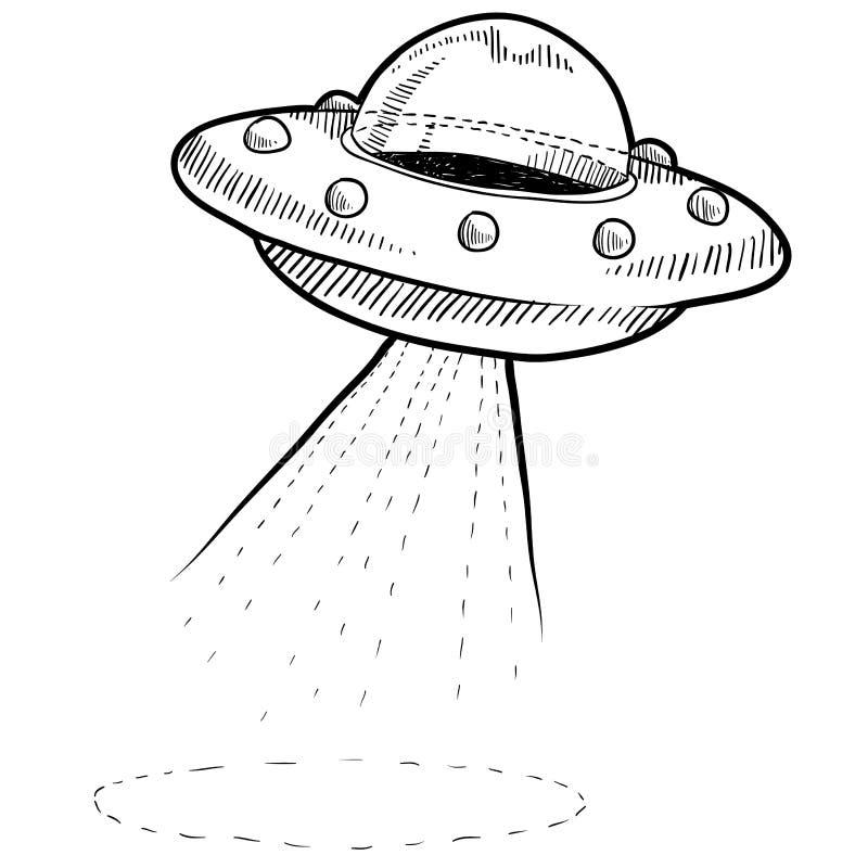 Ретро чертеж UFO бесплатная иллюстрация