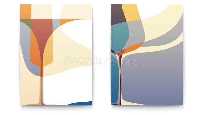 Ретро шаблоны дизайна для карточки меню ресторана с бокалом силуэта Абстрактные предпосылки для меню кафа Комплект  иллюстрация вектора