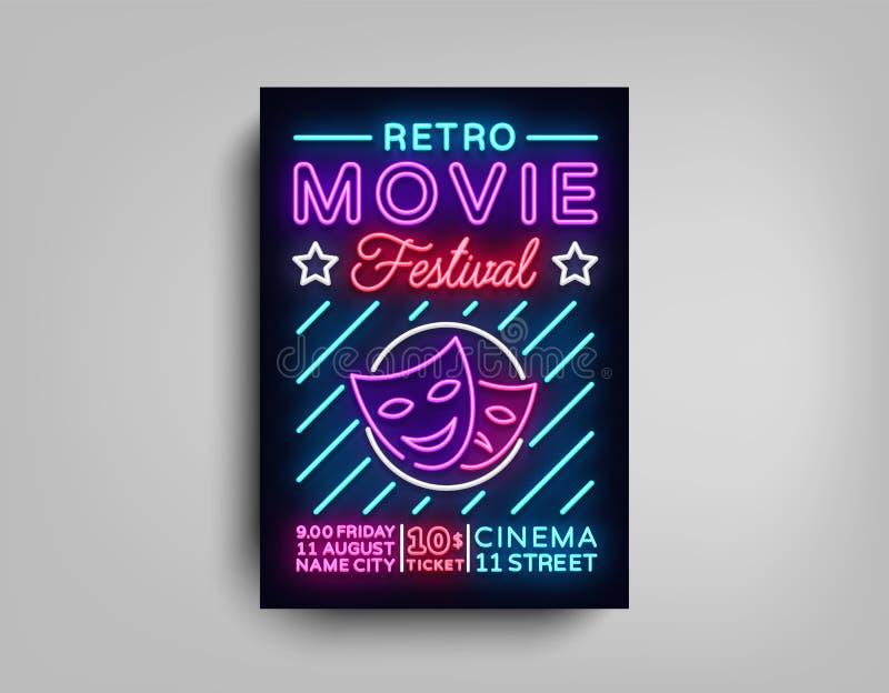 Ретро шаблон неона дизайна оформления открытки фестиваля кино Брошюра в неоне стиля, неоновой вывеске, красочном плакате иллюстрация штока
