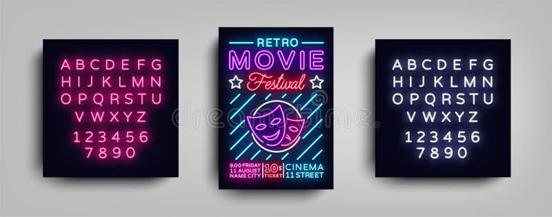 Ретро шаблон неона дизайна оформления открытки фестиваля кино Неон стиля брошюры, неоновая вывеска, плакат, знамя, ноча иллюстрация штока