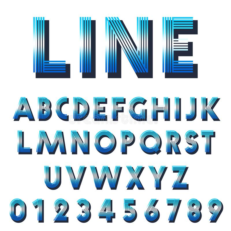 Ретро шаблон шрифта Установите писем и линии номеров конструируют бесплатная иллюстрация