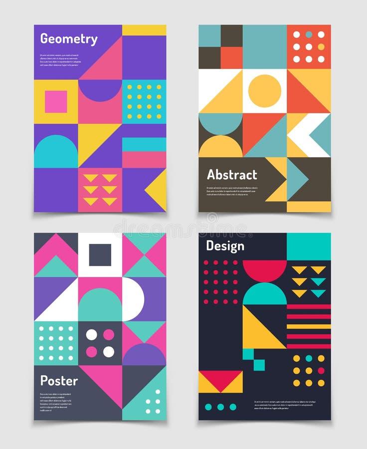 Ретро швейцарские графические плакаты с геометрическим Баухаузом формируют Предпосылки вектора абстрактные в старом стиле модерни иллюстрация вектора