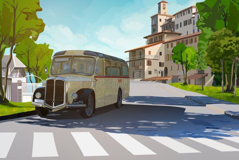 Ретро шина в городке бесплатная иллюстрация