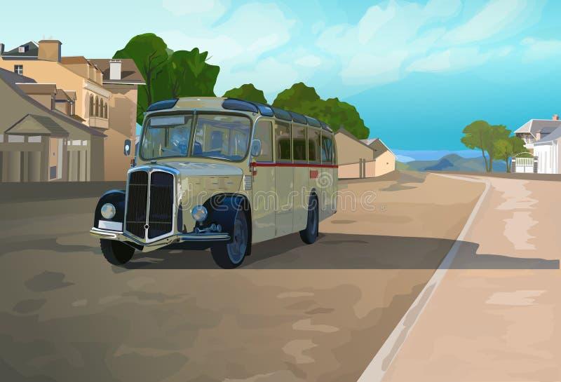 Ретро шина в городке иллюстрация штока