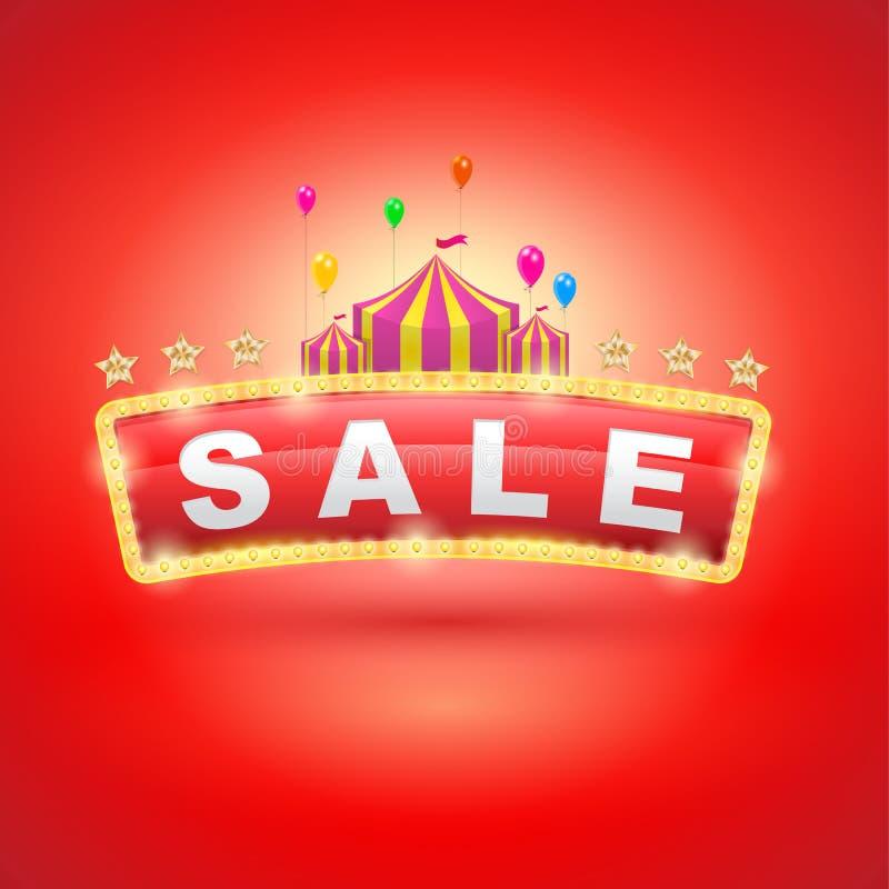 Ретро шильдик с шатром цирка бесплатная иллюстрация