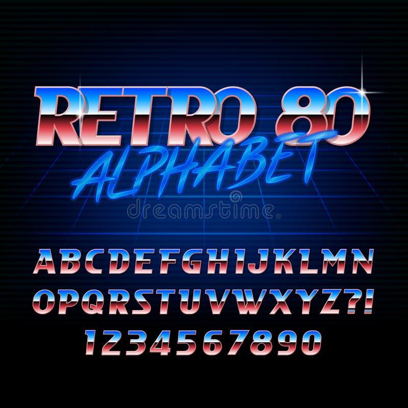 ретро шрифт алфавита 80s Письма металлического влияния сияющие иллюстрация штока