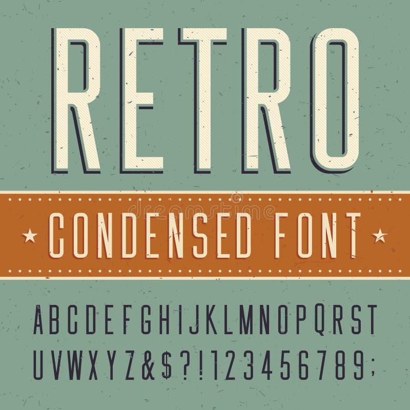 Ретро шрифт алфавита сконденсированный вектором бесплатная иллюстрация
