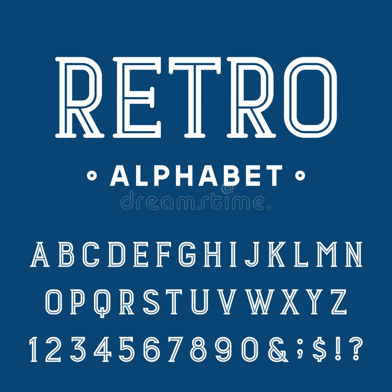 Ретро шрифт вектора алфавита иллюстрация вектора