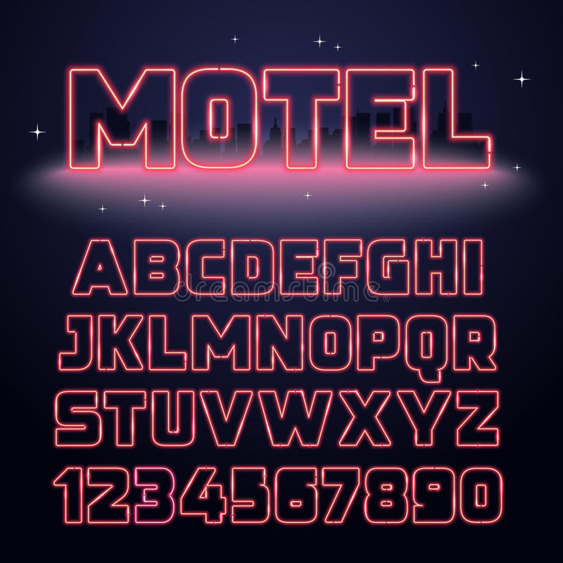 Ретро шрифт неонового света иллюстрация вектора