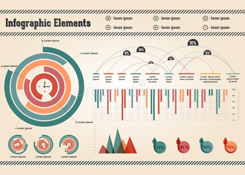 Ретро элементы Infographic иллюстрация вектора