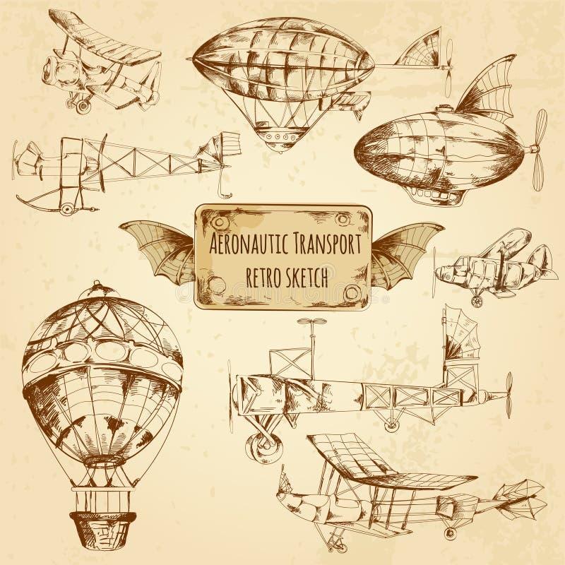 Ретро эскиз авиации бесплатная иллюстрация