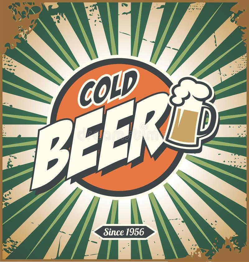 Ретро ярлык пива или дизайн знака года сбора винограда бесплатная иллюстрация