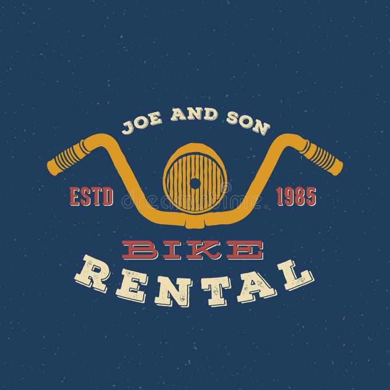 Ретро ярлык проката велосипедов вектора или дизайн логотипа иллюстрация штока