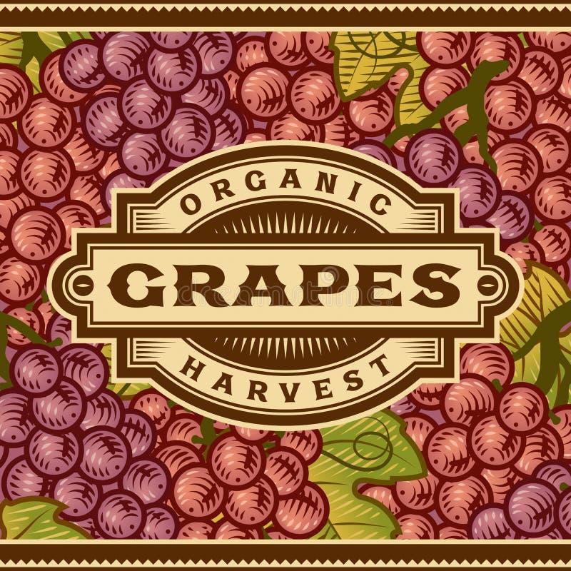 Ретро ярлык сбора виноградин бесплатная иллюстрация