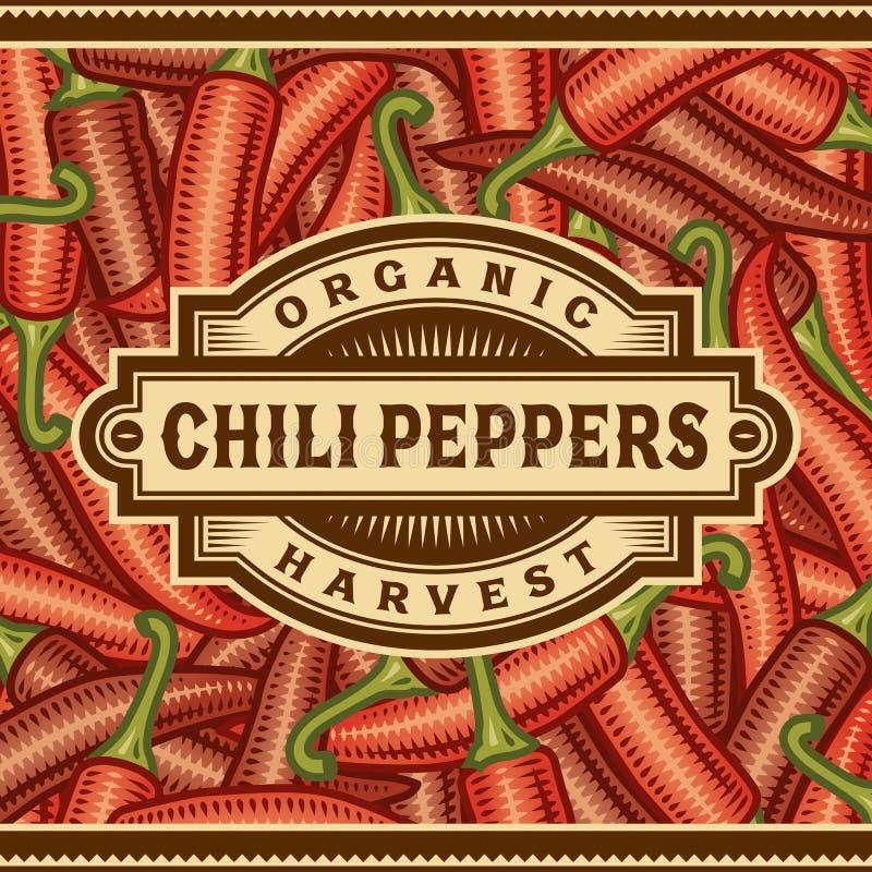 Ретро ярлык сбора перца Chili бесплатная иллюстрация