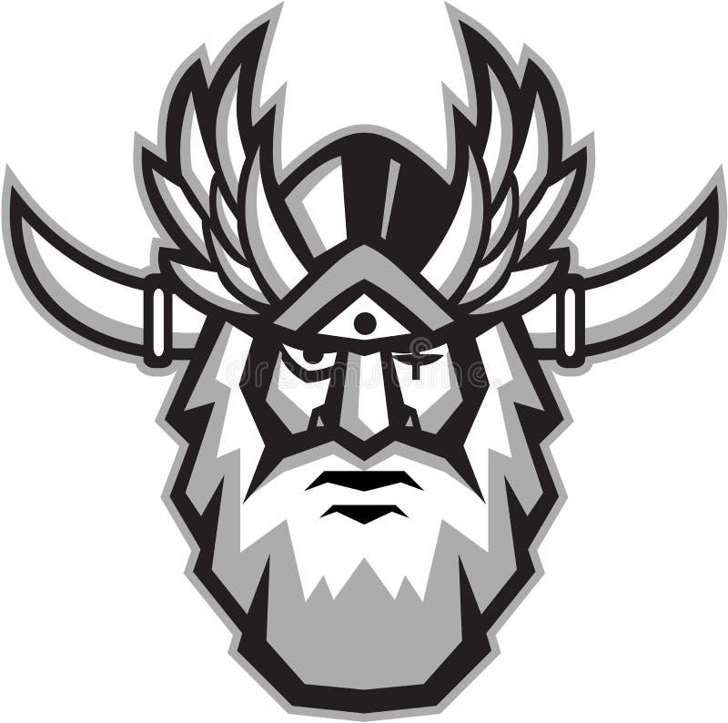 Ретро Odin норвежского бога головное иллюстрация вектора