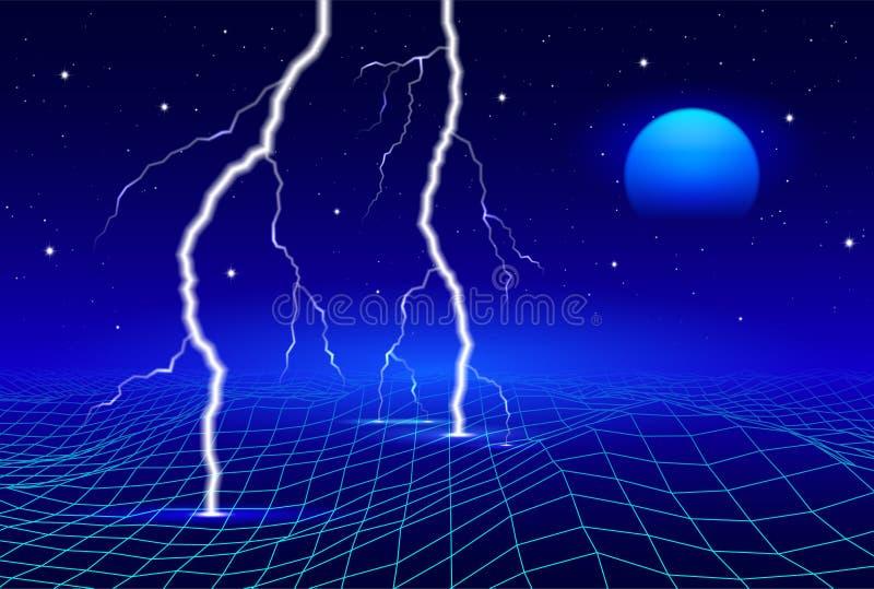 Ретро 80s ввело футуристический ландшафт в моду с неоновыми солнцем или луной и молнией в цифровом космосе с сияющей решеткой бесплатная иллюстрация