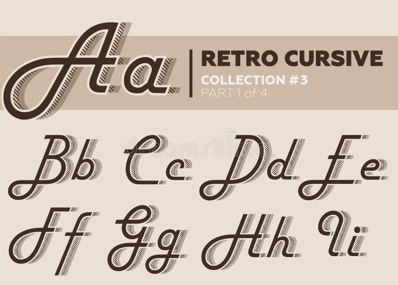 Ретро Typeset характер Шрифт наслоенный годом сбора винограда с Striped Shado иллюстрация штока