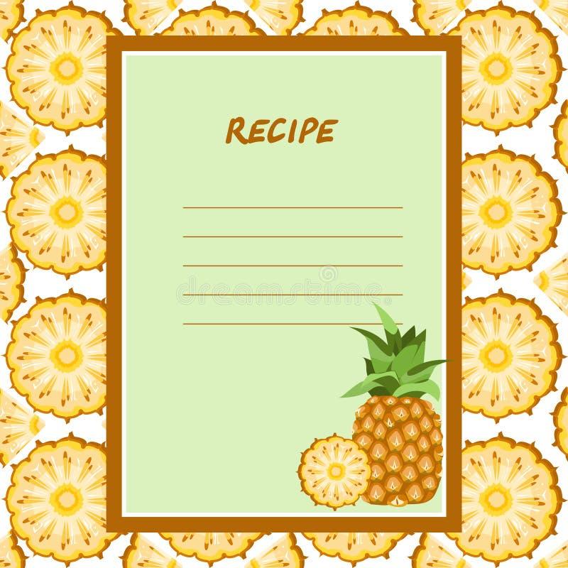 Рецепты ананаса на безшовной текстуре иллюстрация штока