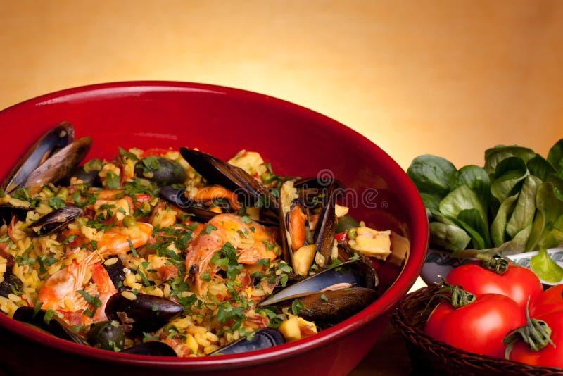 рецепты paella испанские стоковые фото