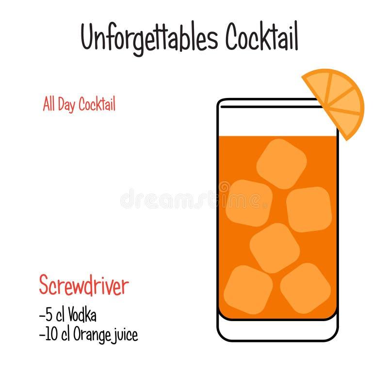 Рецепт иллюстрации вектора коктейля отвертки спиртной изолировал иллюстрация штока