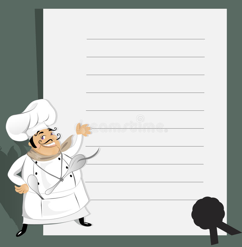 рецепт шеф-повара иллюстрация вектора