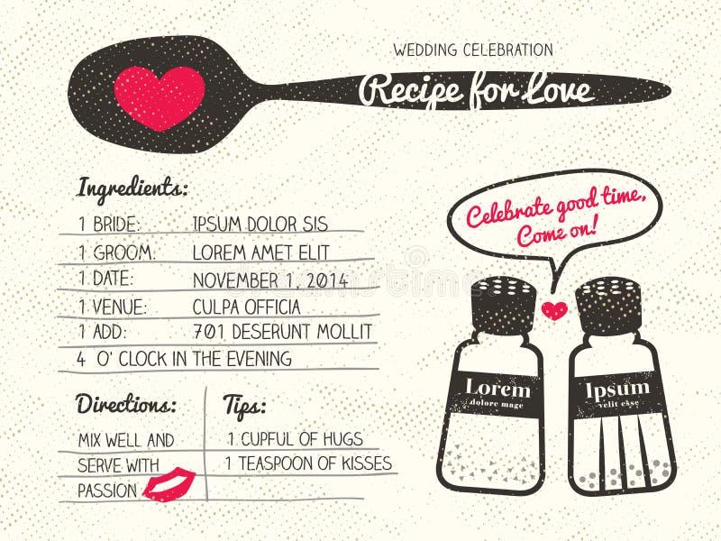 Рецепт для приглашения свадьбы влюбленности творческого бесплатная иллюстрация