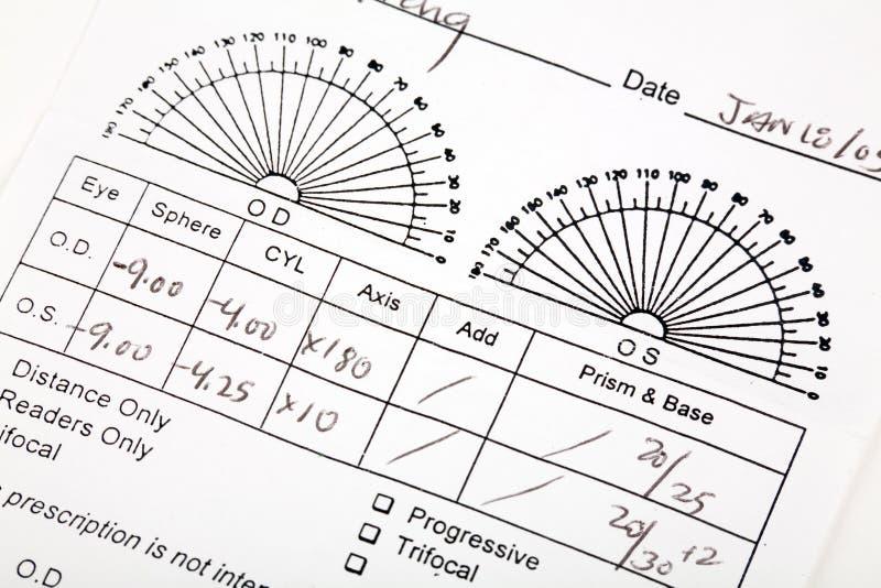рецепт eyeglass стоковое фото