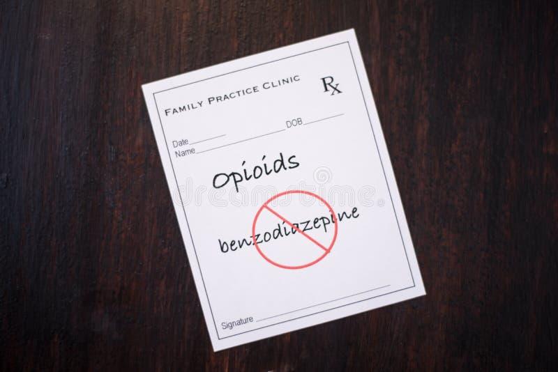 Рецепт Opioid - отсутствие benzodiazepines стоковое фото rf