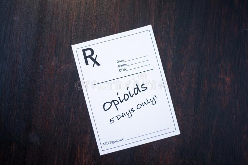 Рецепт Opioid с дозировкой 5 дней стоковое изображение rf