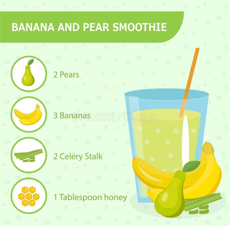 Рецепт smoothie банана и груши с ингридиентами иллюстрация вектора