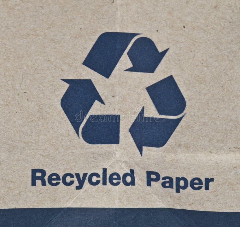 Рециркулированный бумажный знак стоковое изображение
