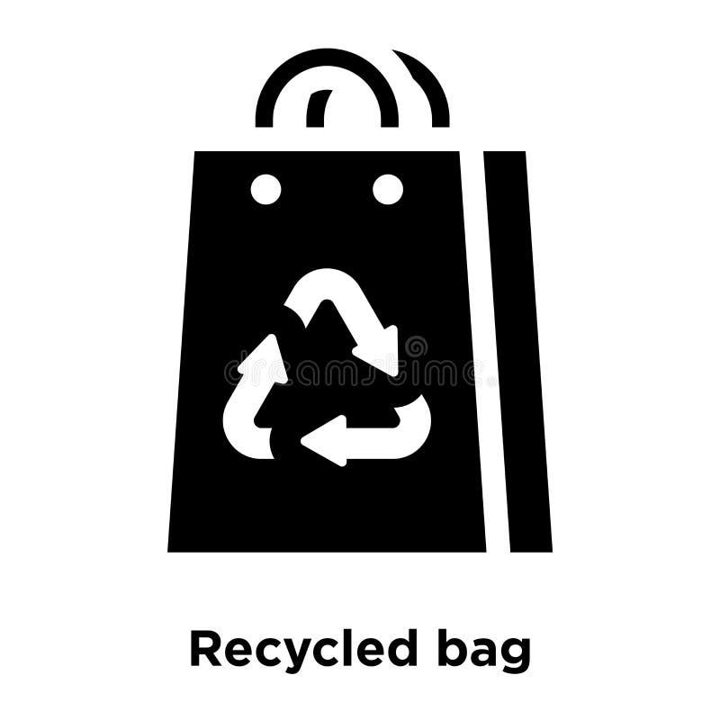 Рециркулированный вектор значка сумки изолированный на белой предпосылке, логотипе conc иллюстрация штока