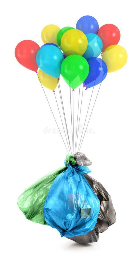 Рециркулировать погань Воздушные шары летают прочь с мешком для мусора стоковое фото rf