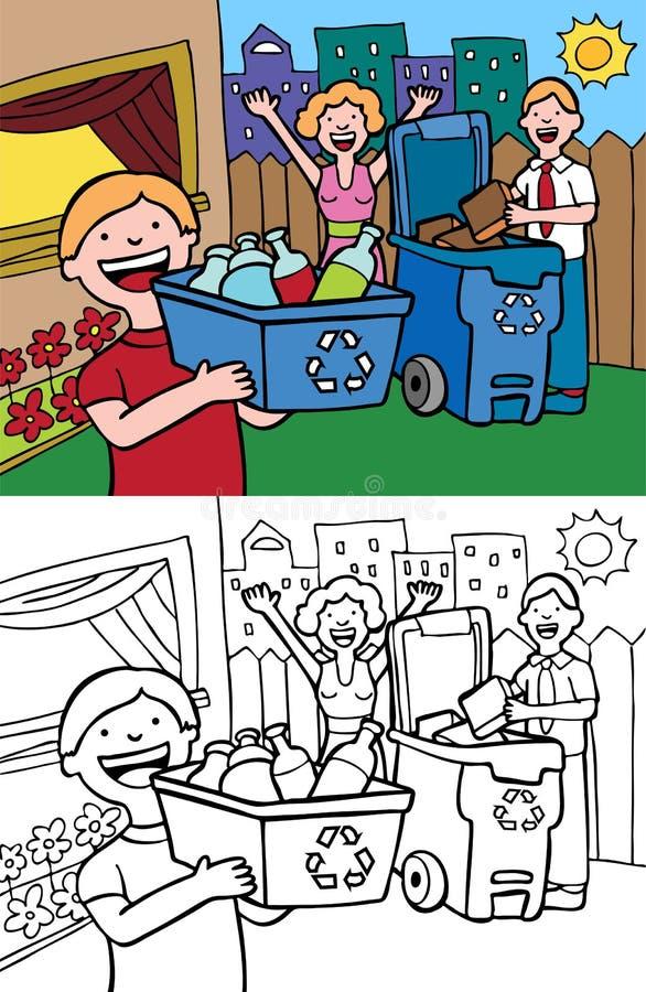 рециркулировать семьи иллюстрация вектора