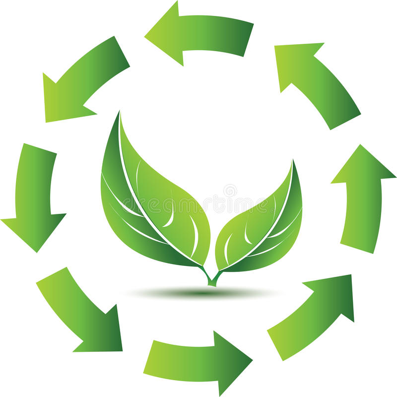 Рециркулировать символ с зелеными листьями иллюстрация вектора