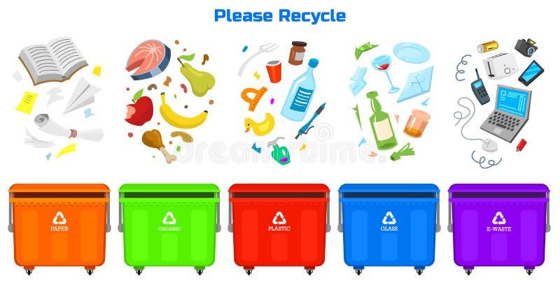 Рециркулировать элементы отброса Сумка или контейнеры или чонсервные банкы для различной портят Сортирующ и используйте пищевые о иллюстрация штока