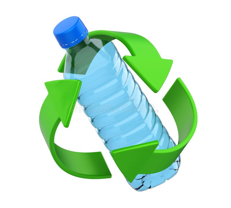 Рециркулируйте знак при пластичная изолированная бутылка иллюстрация штока