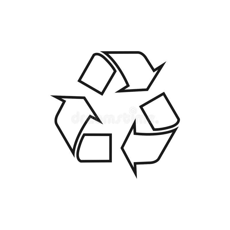 Рециркулируйте значок вектора Стиль плоский символ, округленные углы, белая предпосылка Иллюстрация вектора, плоский дизайн бесплатная иллюстрация