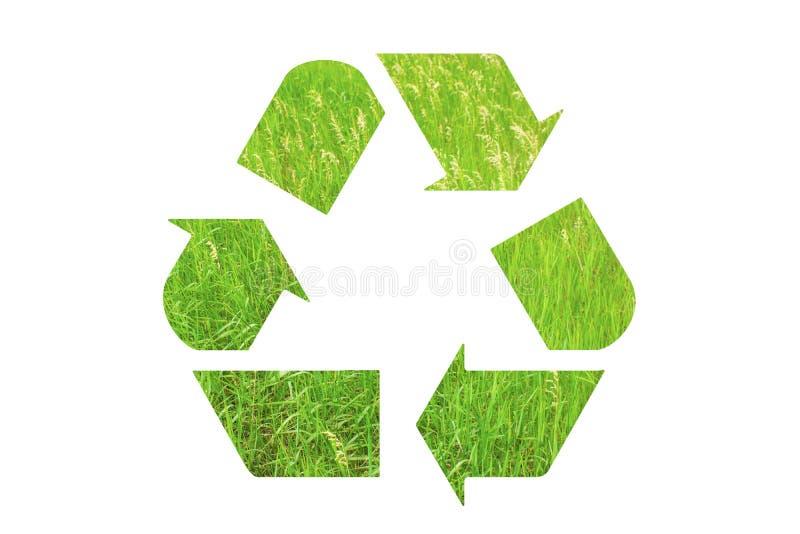 Рециркулируйте логотип знака сделанный зеленой изолированной травы на белом backgrou иллюстрация штока