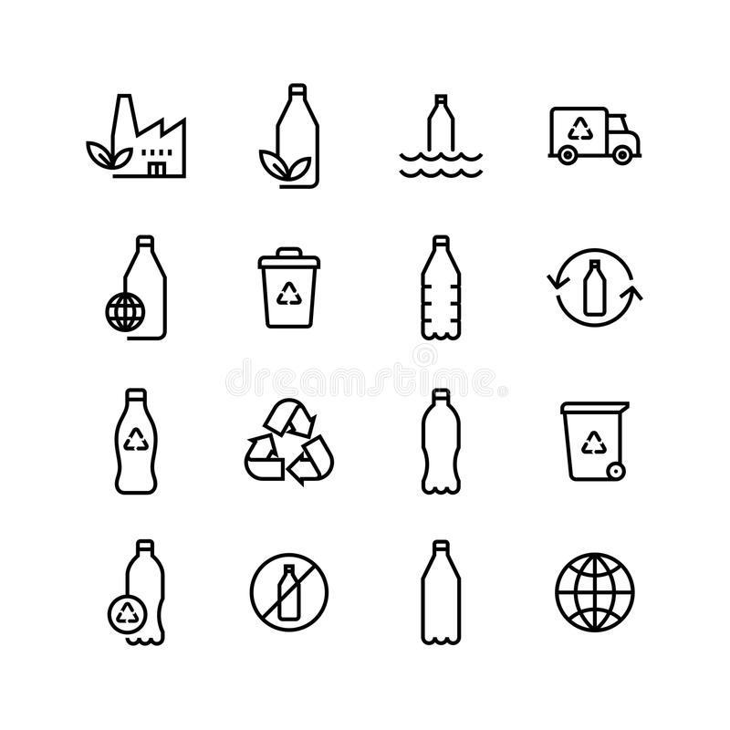 Рециркулируйте пластичный комплект значка Eco бутылки иллюстрация вектора