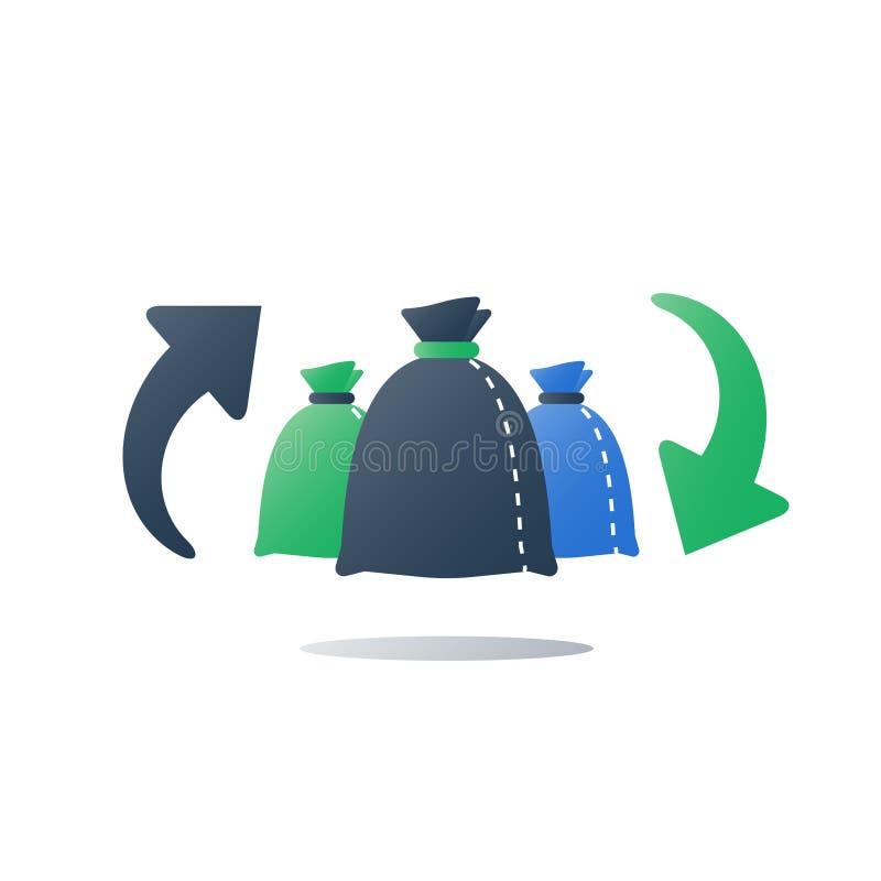 Рециркулируйте программу, группу в составе сумки отброса, отдельное собрание, сортированный хлам, собранный в зеленых и черных ме иллюстрация вектора