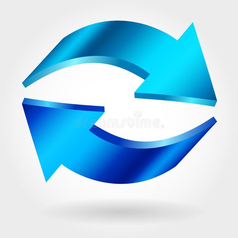 Рециркулируйте символ изолированный на белой предпосылке подпишите вектор голубая икона бесплатная иллюстрация