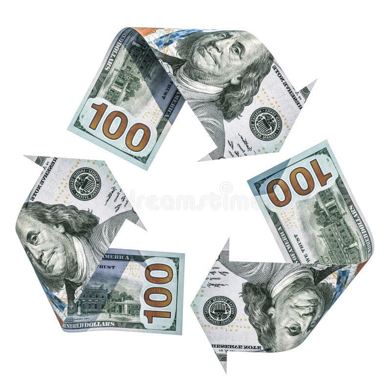 Рециркулируйте символ от долларов, перевод 3D иллюстрация вектора