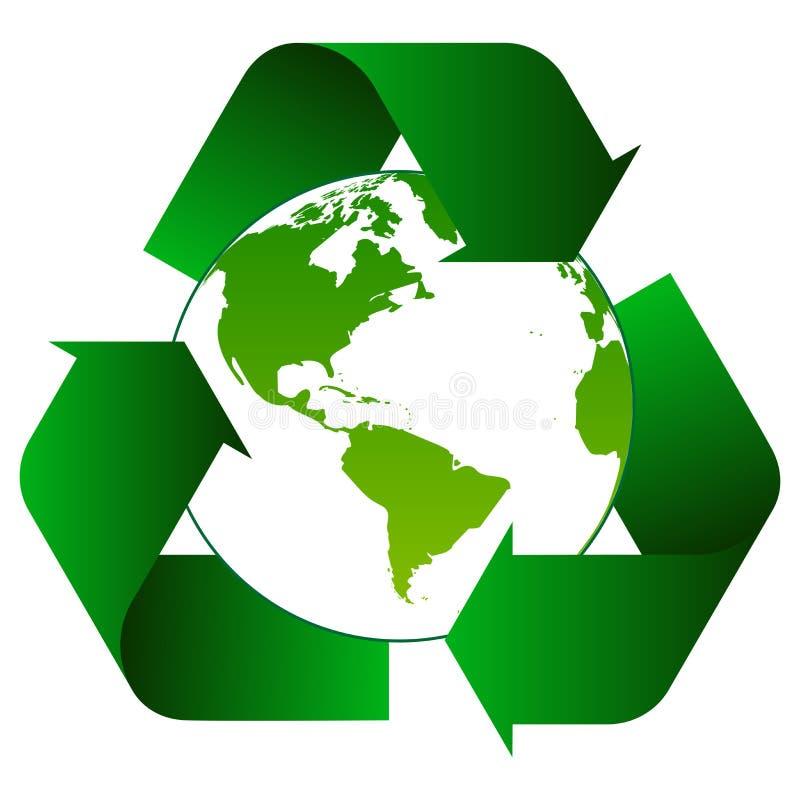 Рециркулируйте стрелки с зеленым логотипом глобуса иллюстрация вектора