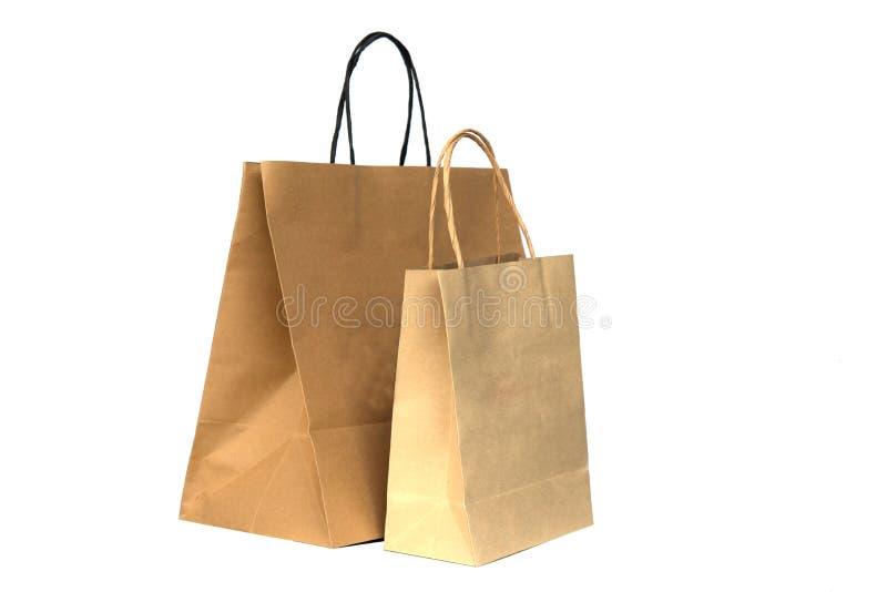 Рециркулированные хозяйственные сумки коричневой бумаги стоковые фотографии rf